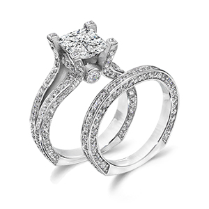 princess cut cz wedding ring set a closer look at one of With most popular wedding ring sets