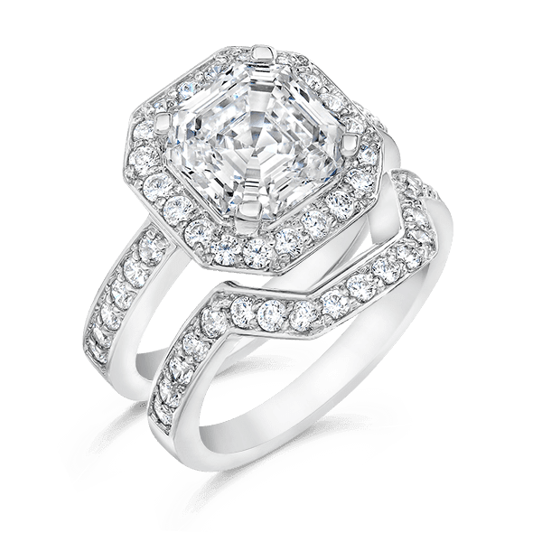 asscher cut 350 carat 14k wedding ring set With asscher cut wedding ring set