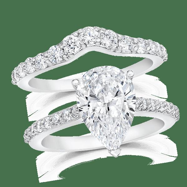 Pear Shape 3 0 Carat 14K Wedding Ring Set