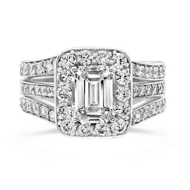 Cubic Zirconia Rings 1 25 Ct Emerald Cut 14K Wedding Set