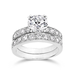 Round 2.0 Carat, 14K Wedding Ring Set
