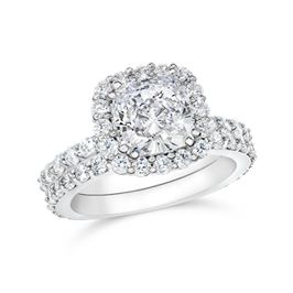 Cushion Cut 1.50 Carat, 14K Wedding Ring Set