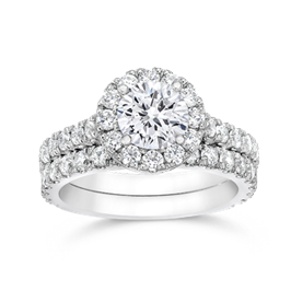 Round 1.0 Carat, 14K Wedding Ring Set