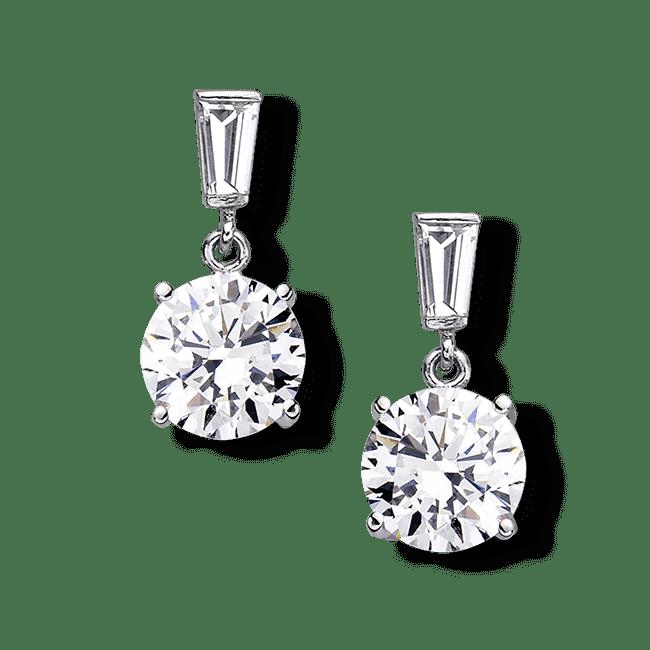 Round 3.0 Carat  14K Drop Earrings