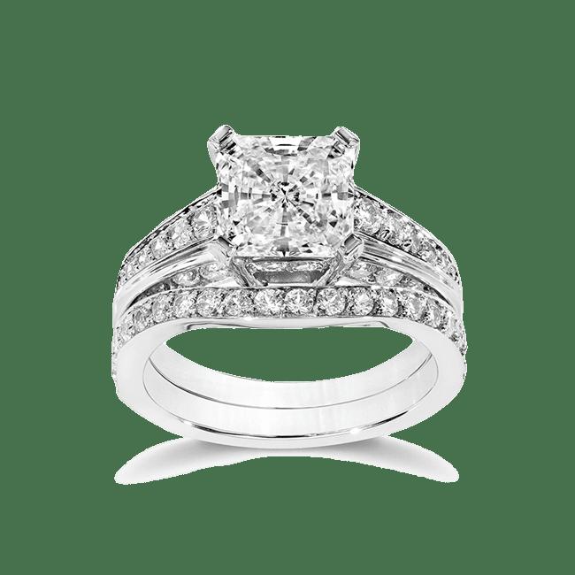Cubic Zirconia Rings 2 0 Ct Princess Cut 14k Wedding