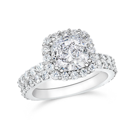 Cushion Cut 1.50 Carat  14K Wedding Ring Set