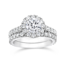 Round 1.0 Carat  14K Wedding Ring Set